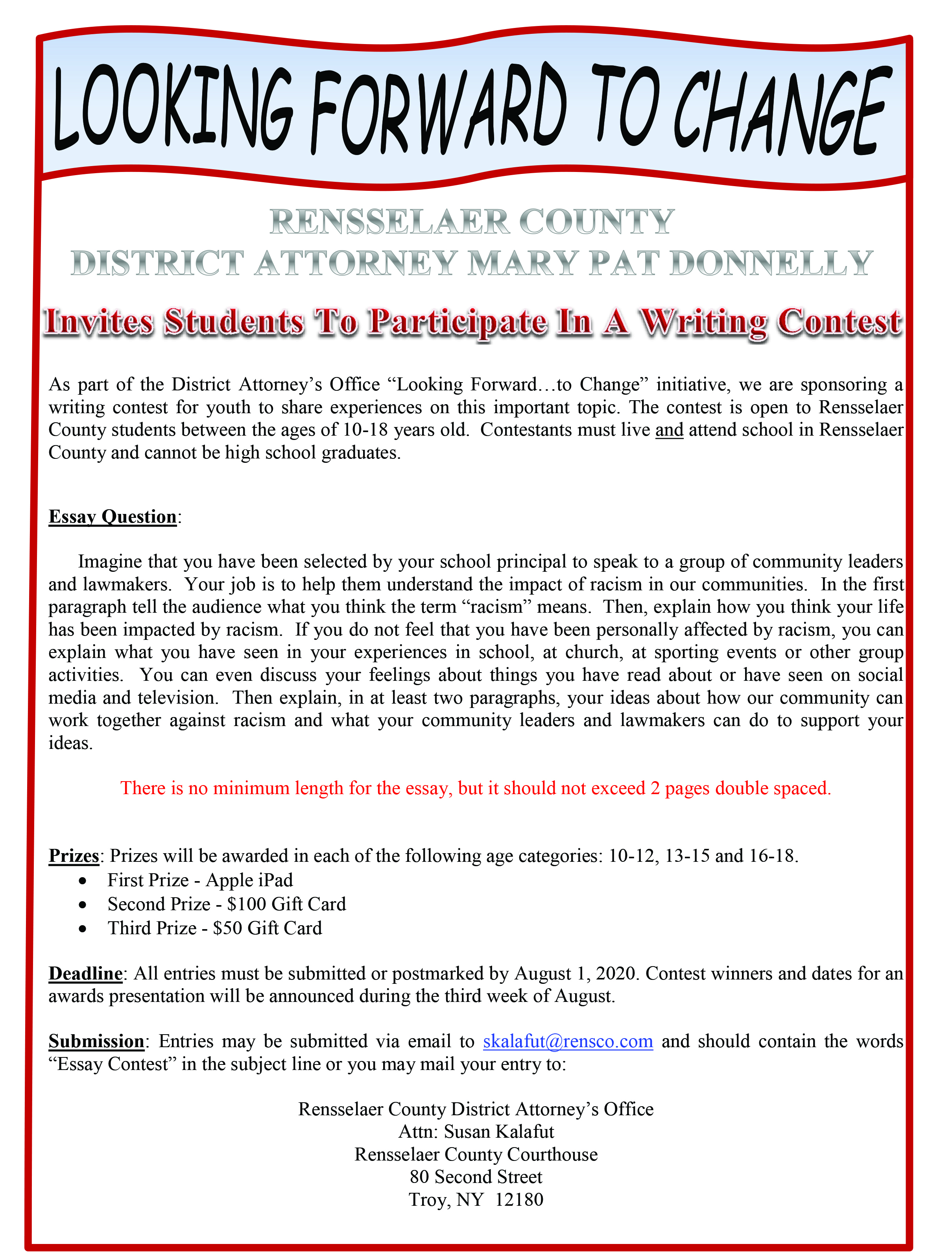 Rensselaer County DA Invites Students to Participate in Writing Contest